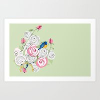 Bluebirds and Roses on Green Art Print