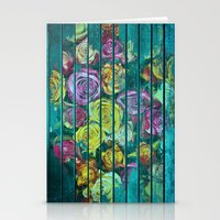 Shabby Colored Roses on Teal Wood Stationery Cards
