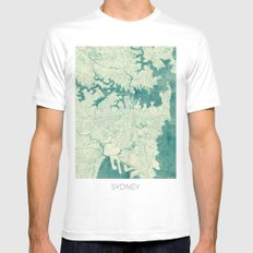 Sydney Map Blue Vintage SMALL Mens Fitted Tee White