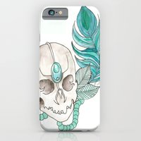 iPhone & iPod Case featuring Skull Feather by Lilyana Reyes