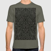 Abstract Lace on Black Mens Fitted Tee Lieutenant SMALL