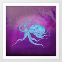 Octopus Swims Art Print
