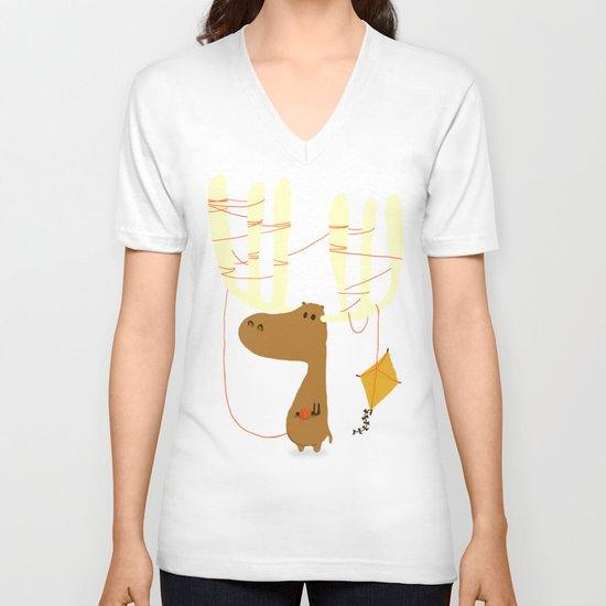 A moose ing V-neck T-shirt