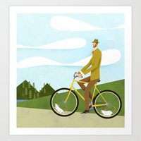 Road Cycling With Rodent… Art Print