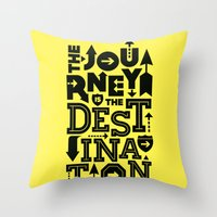 Yellow Journey Quote Throw Pillow
