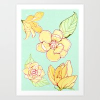 Summer flowers blue Art Print