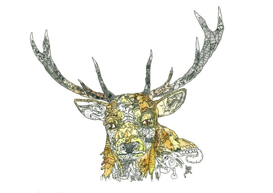 Stag Doodle Art Print