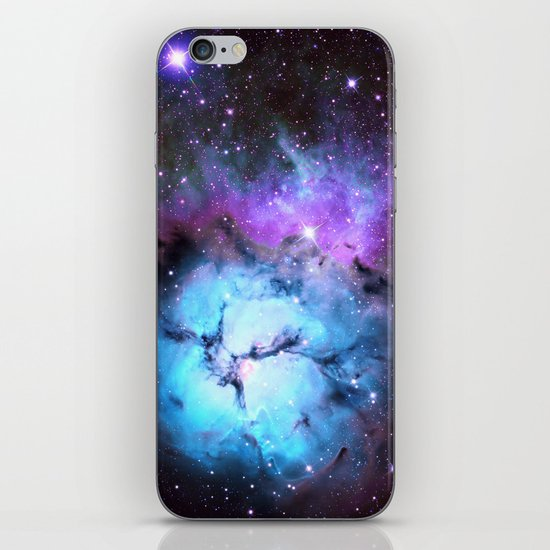 Blue Floral Nebula iPhone & iPod Skin