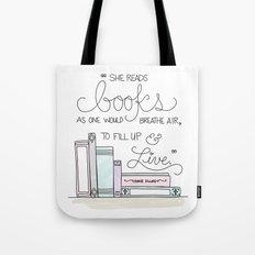 She Reads Books Tote Bag