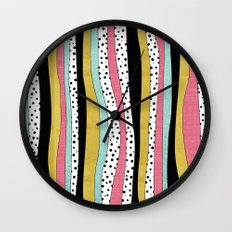 Polka Pink Blue Gold Wav… Wall Clock
