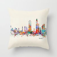 Barcelona watercolor skyline Throw Pillow