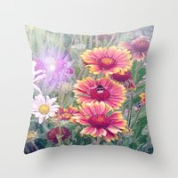 Multi Coloured Flowers with Bee Throw Pillow