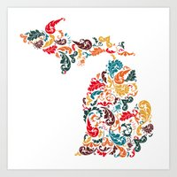 Michigan Colors Art Print
