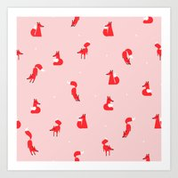 Winter foxes (pink) Art Print