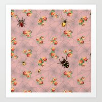 Spiders, Webs, And Roses Art Print