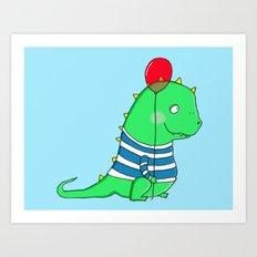 Jolly green party Dinosaur Art Print