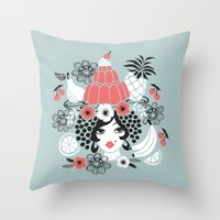 Jelly Miranda - Blue Throw Pillow