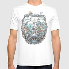 What Lurks Beneath White SMALL Mens Fitted Tee