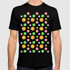 Orange, lemon, lime and grapefruit summer party pattern Mens Fitted Tee Black SMALL