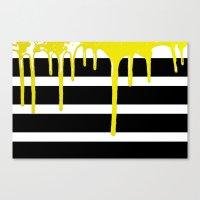 Striped Drip Yellow Canvas Print