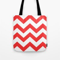 Red Chevron Lines Tote Bag