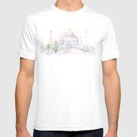 Watercolor landscape illustration_India - Taj Mahal Mens Fitted Tee White SMALL