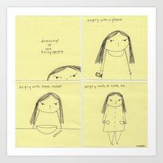 Drawings of me being angry Art Print