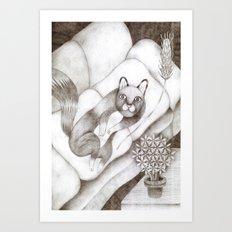 Cat lying on the sofa Art Print