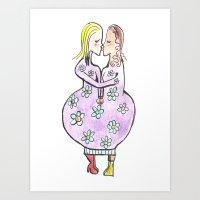Kissing Women In A Flowe… Art Print