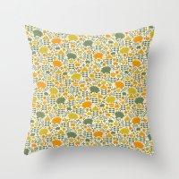Autumn Hedgehog Forest Throw Pillow