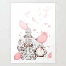 Sakura Spaceman Art Print