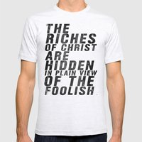 THE RICHES OF CHRIST ARE… Mens Fitted Tee Ash Grey SMALL