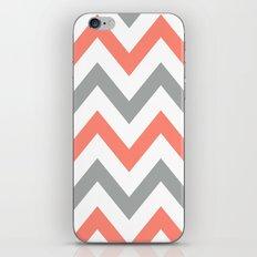 Coral & Gray Chevron iPhone & iPod Skin