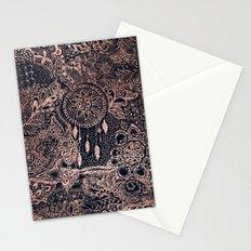 Boho rose gold dreamcatcher floral navy blue Stationery Cards
