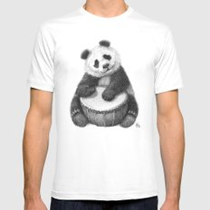 Panda playing percussion G140 SMALL White Mens Fitted Tee