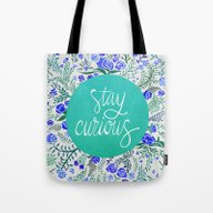 Tote Bag featuring Stay Curious – Navy & … by Cat Coquillette