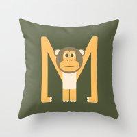 Letter M // Animal Alpha… Throw Pillow