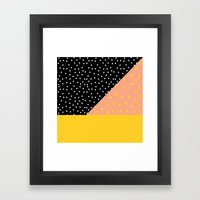 Peach Fuzz Black Polka D… Framed Art Print