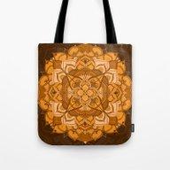 Orange Mandala Flower Tote Bag