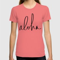 Aloha Hawaii Typography Womens Fitted Tee Pomegranate SMALL