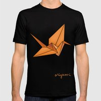 Origami Crane Mens Fitted Tee Black SMALL