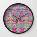 Color Pop Doodle Pattern in Peach, Pink, Purple & Emerald Green Wall Clock