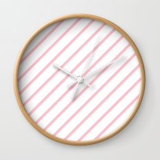 Diagonal Lines (Pink/White) Wall Clock