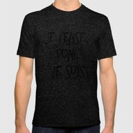 Je Pense, Donc Je Suis -… Mens Fitted Tee Tri-Black SMALL