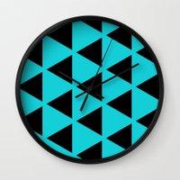 Sleyer Black on Blue Pattern Wall Clock