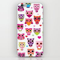 Cute colorful retro style owl illustration pattern iPhone & iPod Skin