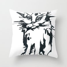 a threatening cat Throw Pillow