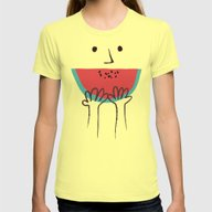 Summer Smile Womens Fitted Tee Lemon SMALL