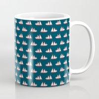 Sailing Ships On Navy Pa… Mug