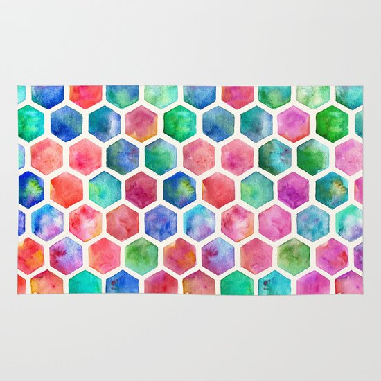Hand Painted Watercolor Honeycomb Pattern Area & Throw Rug